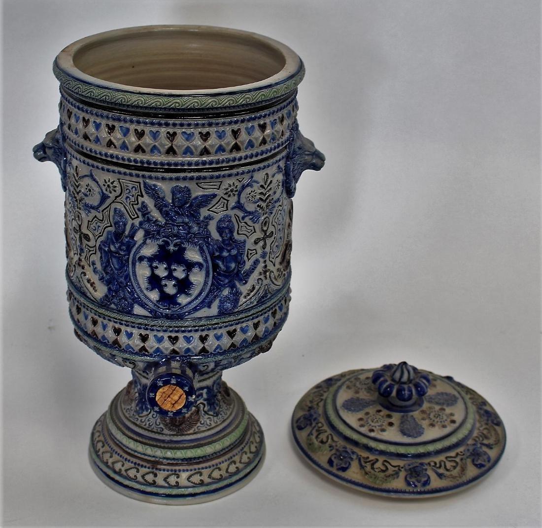 German Stoneware Covered Urn - 7