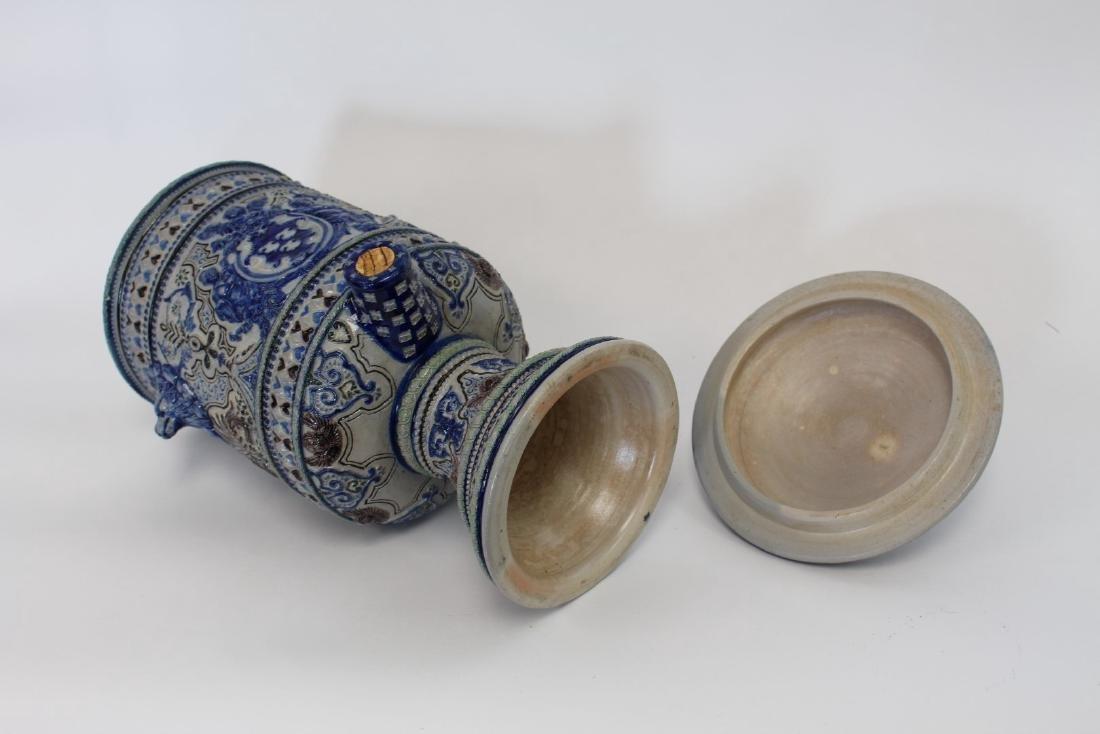 German Stoneware Covered Urn - 8