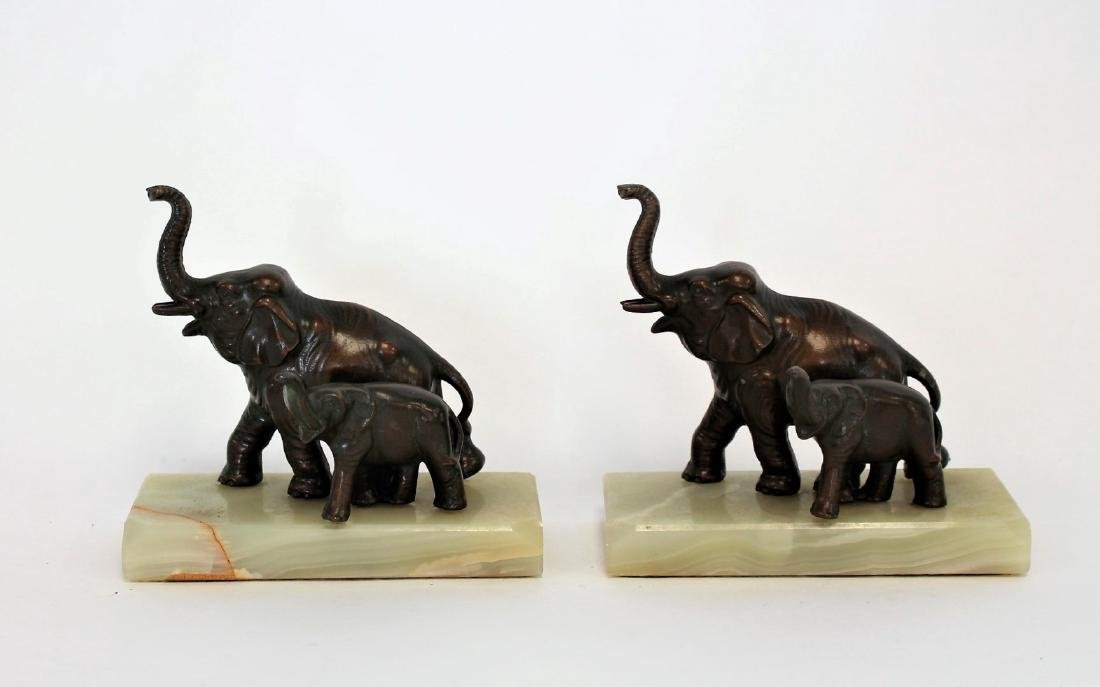 Pair of Bronzed Elephant Bookends