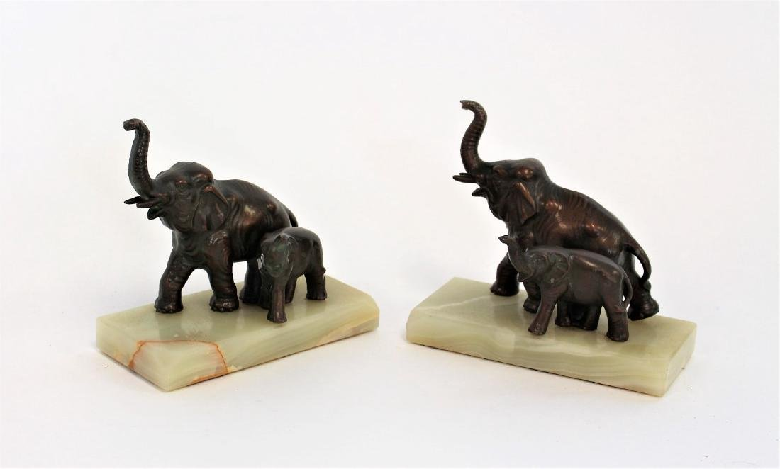 Pair of Bronzed Elephant Bookends - 2