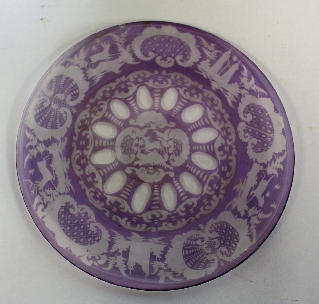 Lot of Bohemian Amethyst Glass Plates(5) - 2