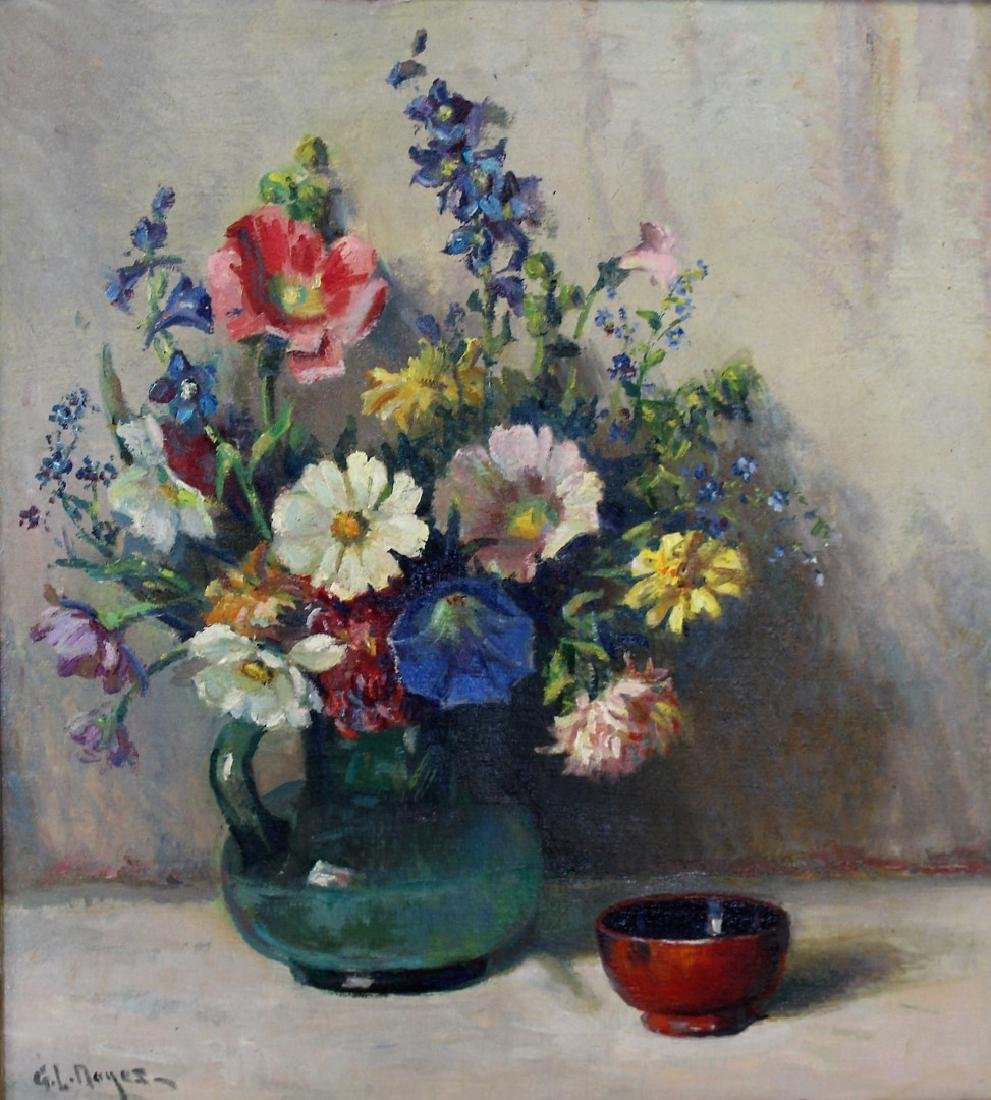 George L.Noyes; American Oil Still Life Signed