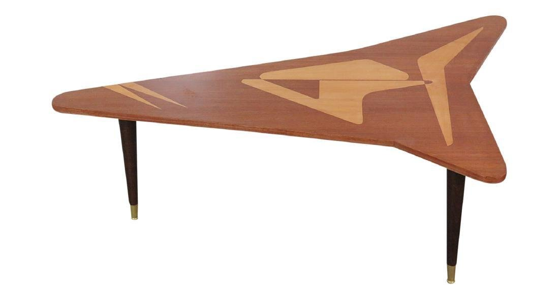 Mid Century Satinwood Inlay Boomerang Table - 2