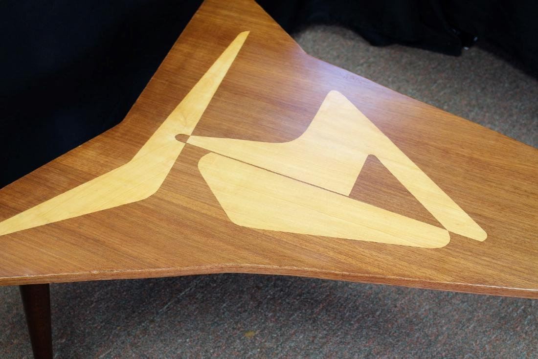 Mid Century Satinwood Inlay Boomerang Table - 3