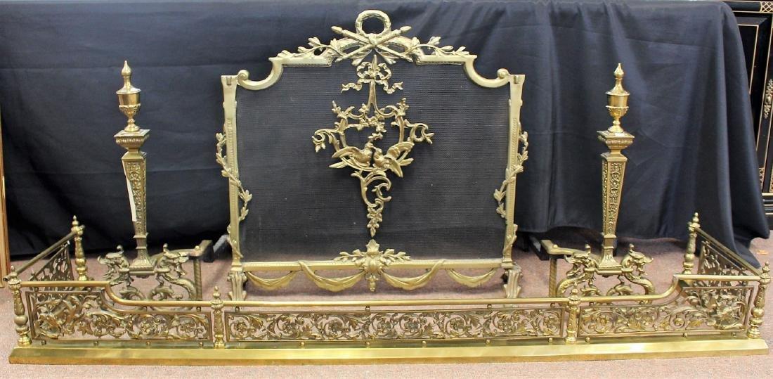 Four(4) Piece French Brass Fireplace Set
