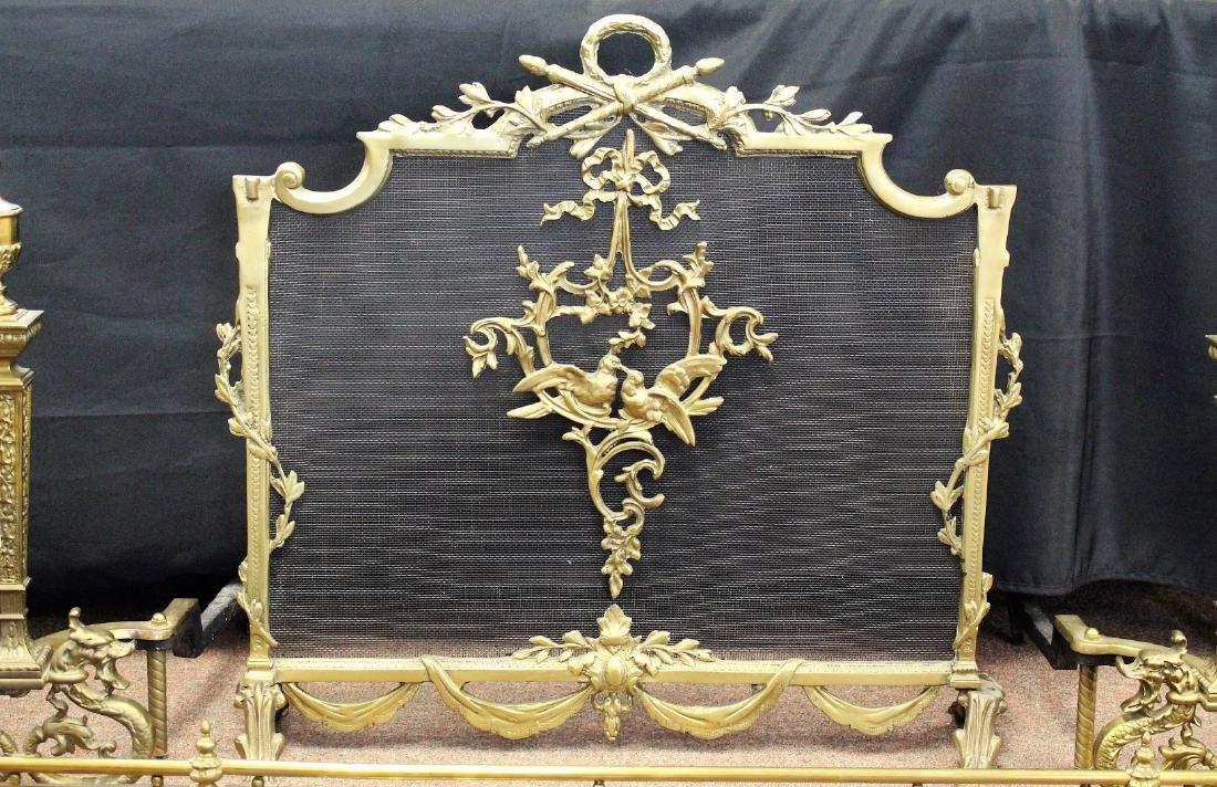 Four(4) Piece French Brass Fireplace Set - 3