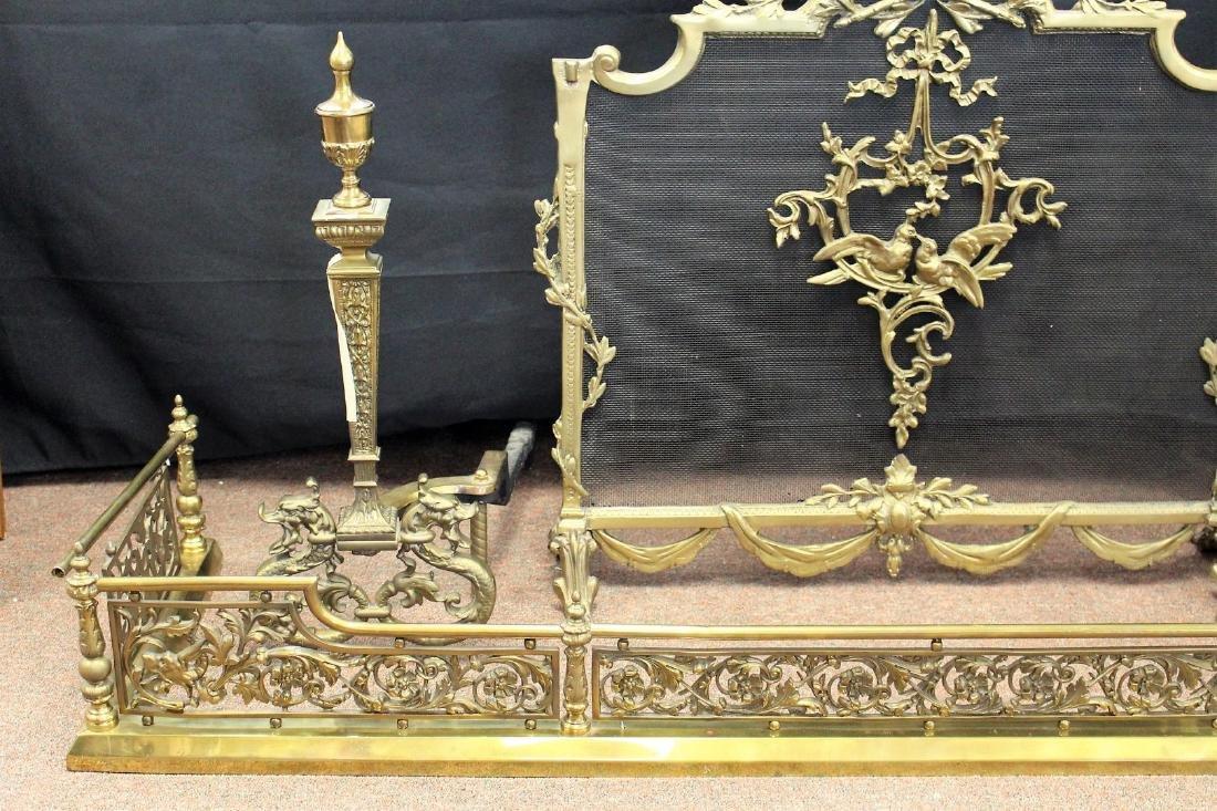 Four(4) Piece French Brass Fireplace Set - 4