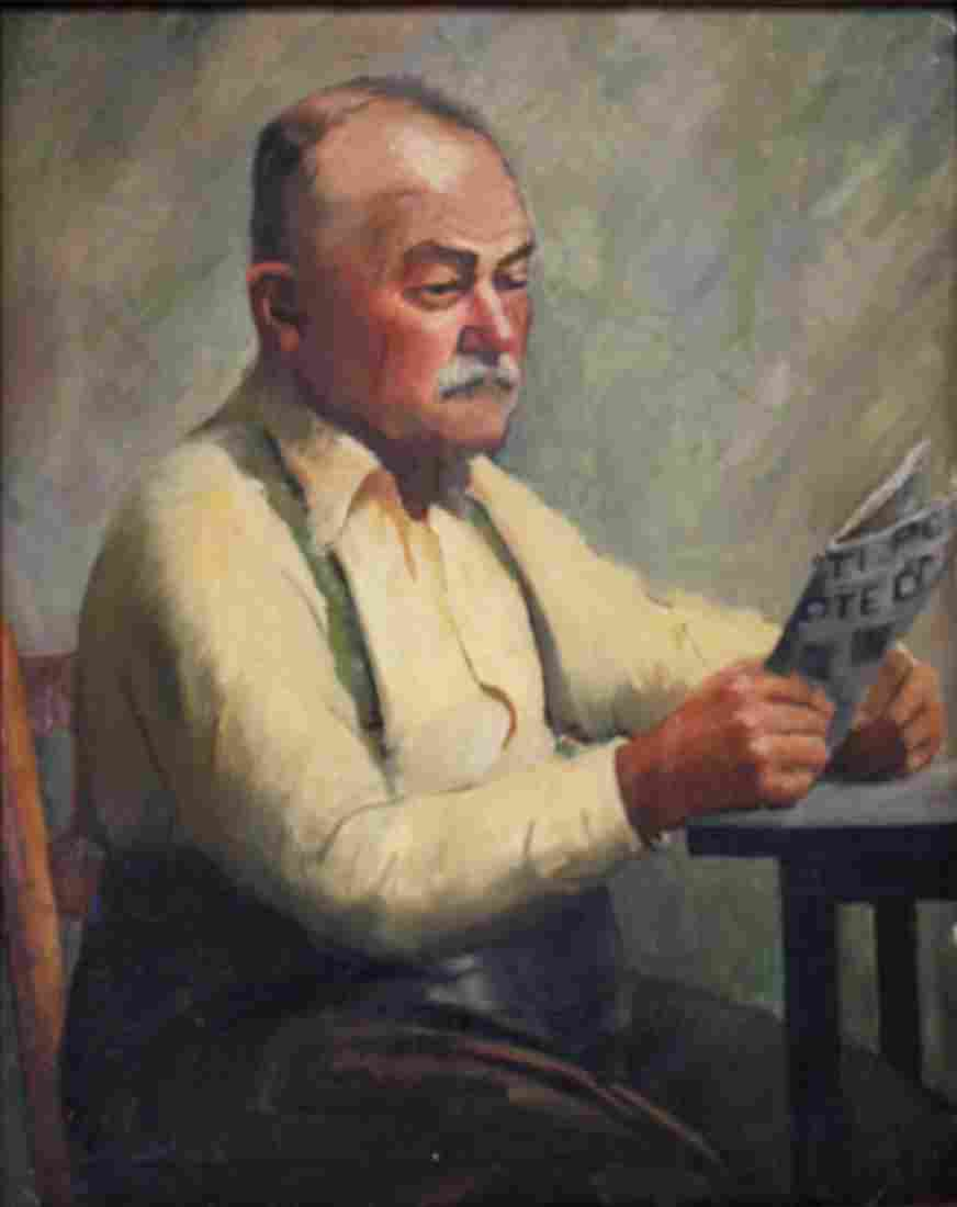 Fishback; 20thC. Oil - The Morning Paper Signed