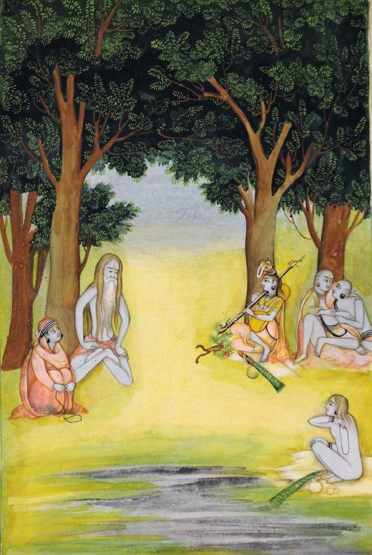 Indian Watercolor - Figures in a Forest