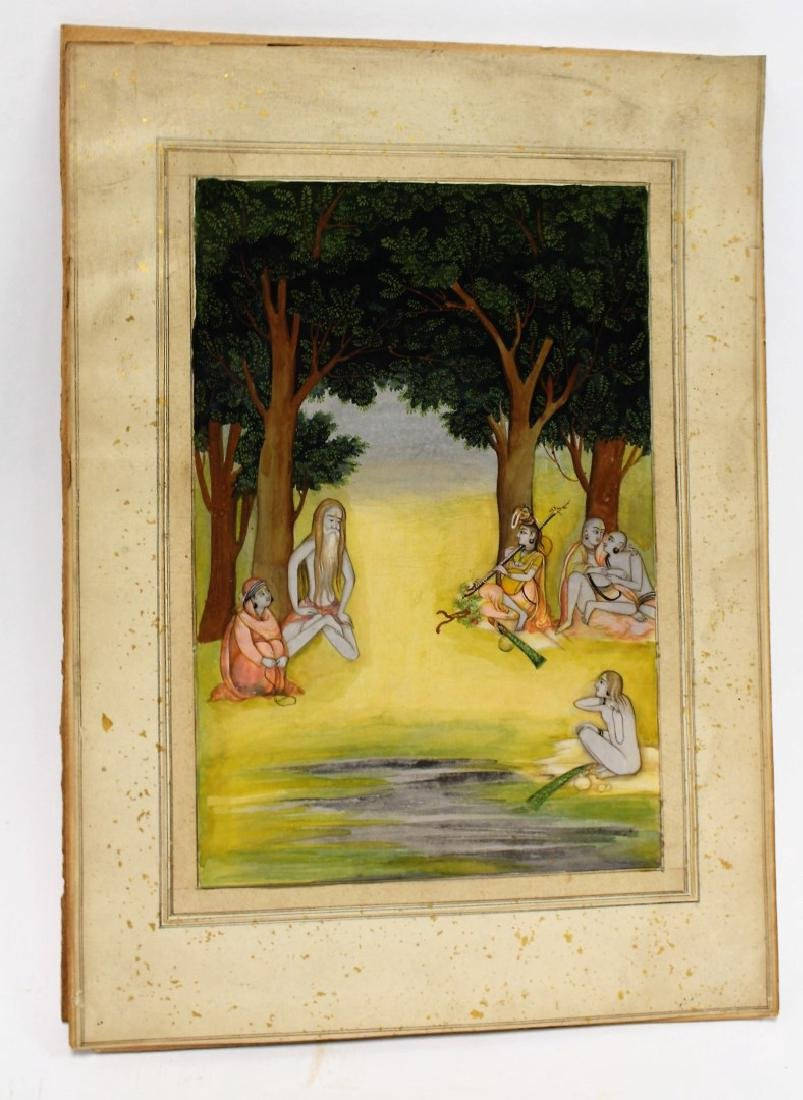 Indian Watercolor - Figures in a Forest - 2