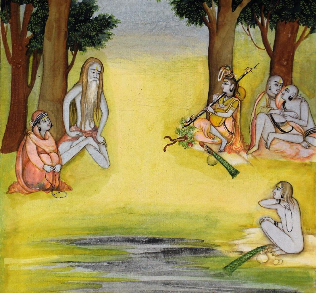 Indian Watercolor - Figures in a Forest - 3