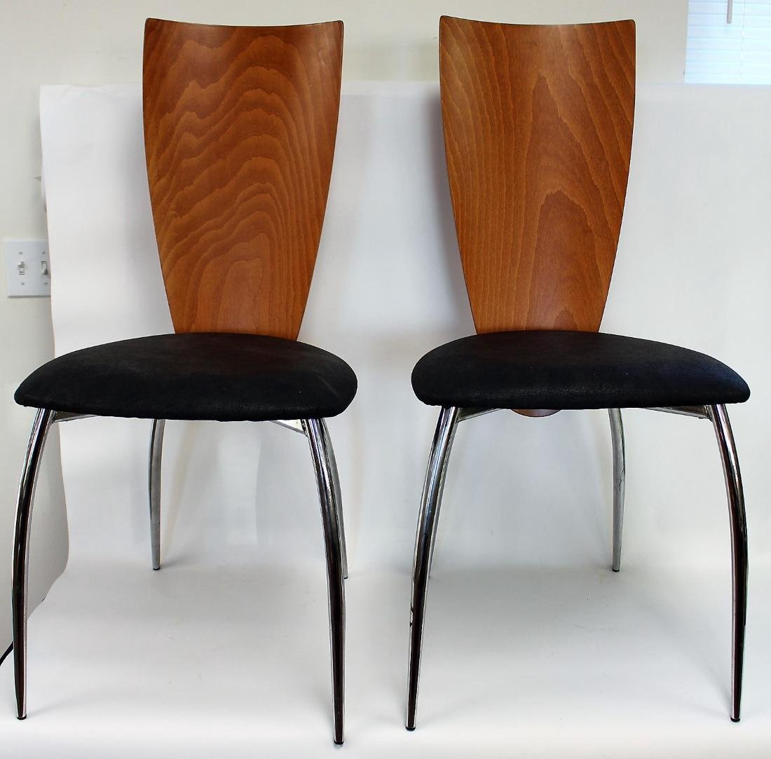 Pair of Italian Mid Century High Back Chairs