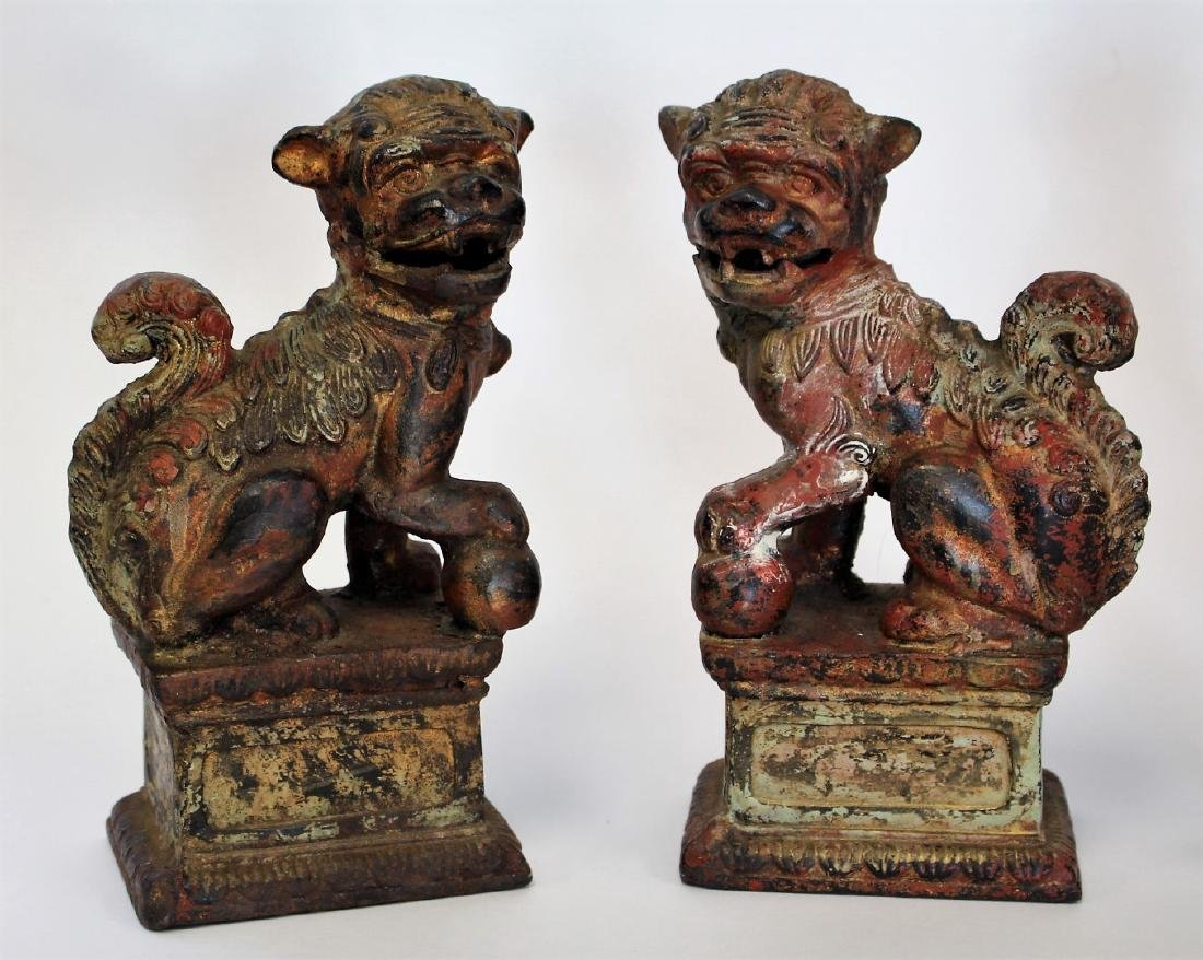 Two(2) Pair of Chinese Foo Dog Bookends - 2