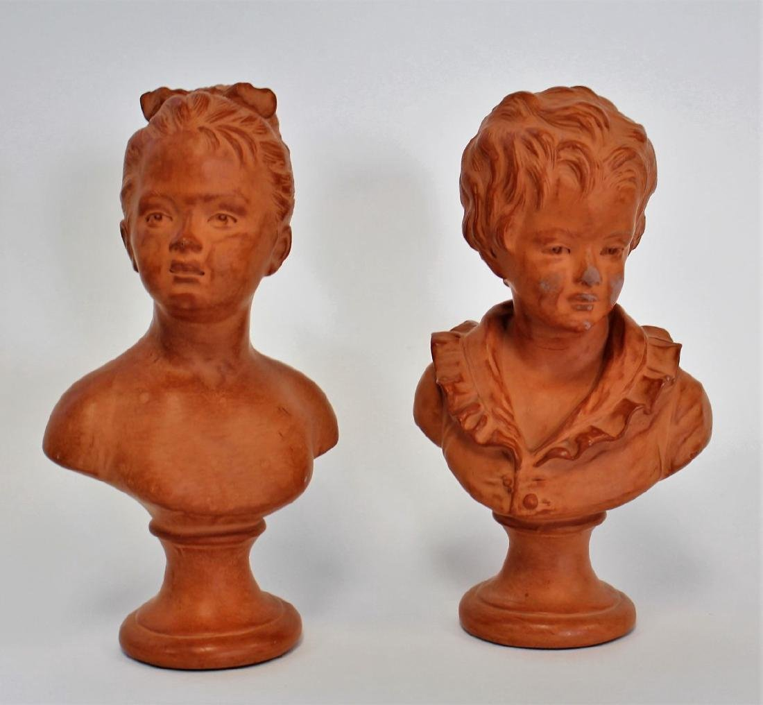 Jean-Antoine Houdon(after); Two(2) Terracotta Busts