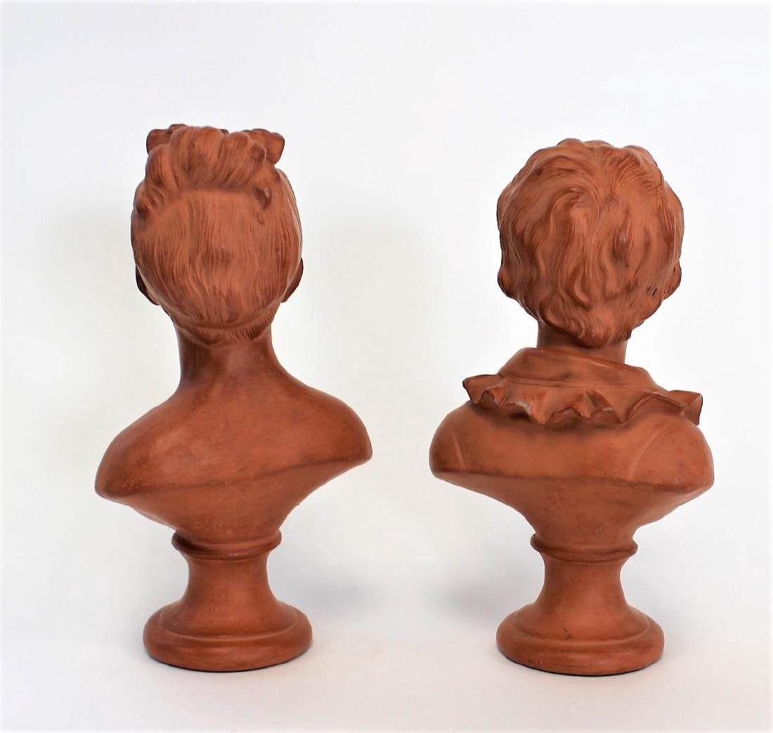Jean-Antoine Houdon(after); Two(2) Terracotta Busts - 4