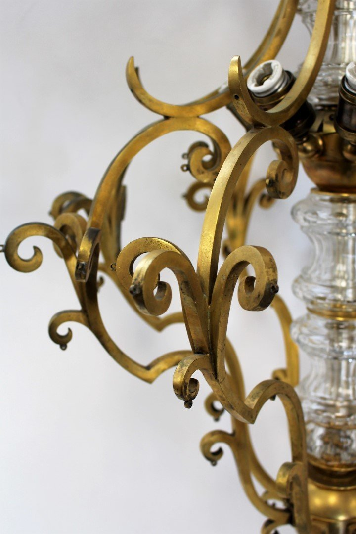 Fancy Continental Brass and Glass Chandelier - 10