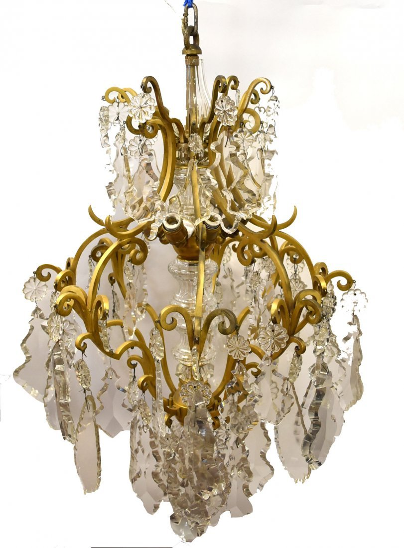 Fancy Continental Brass and Glass Chandelier