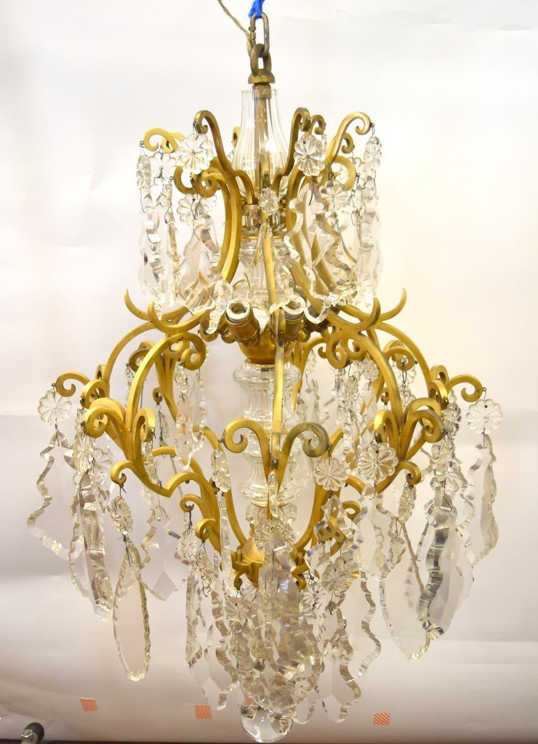 Fancy Continental Brass and Glass Chandelier - 3