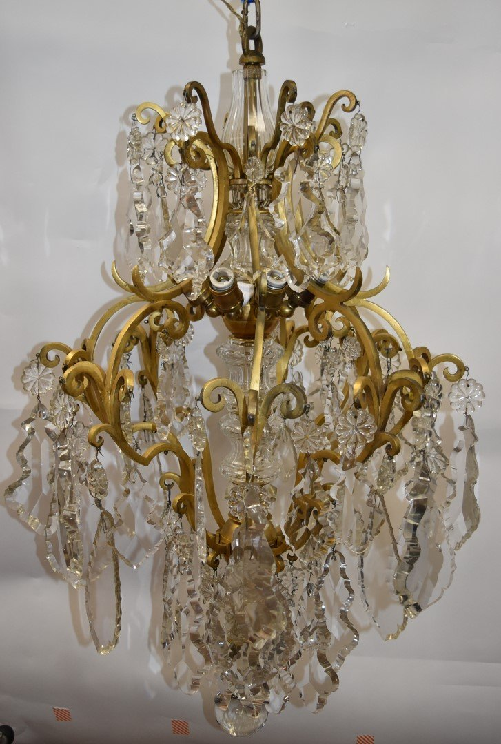 Fancy Continental Brass and Glass Chandelier - 4