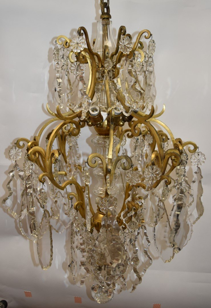 Fancy Continental Brass and Glass Chandelier - 5