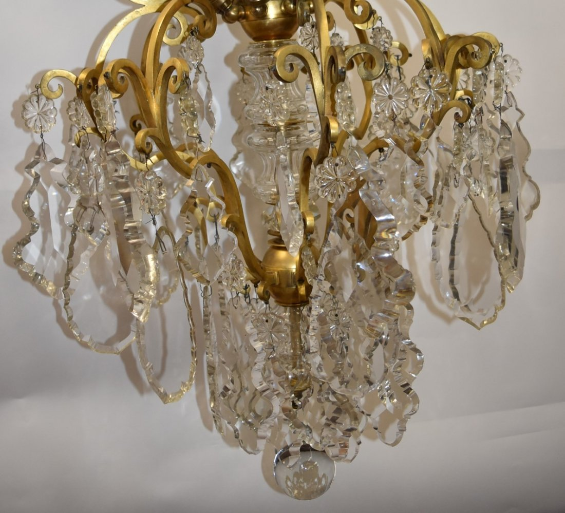 Fancy Continental Brass and Glass Chandelier - 7