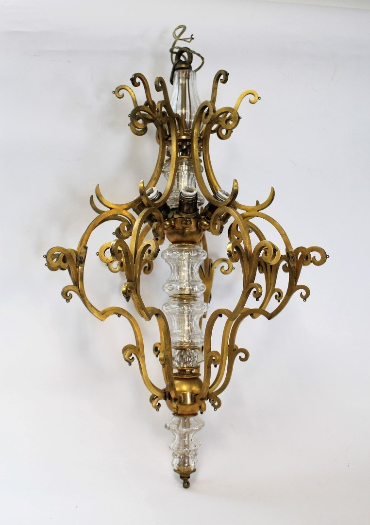 Fancy Continental Brass and Glass Chandelier - 8
