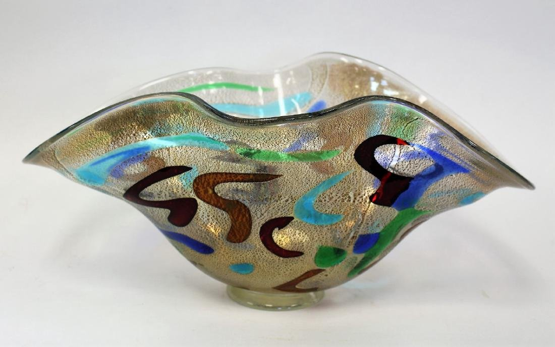 20thC. Studio Art Glass Bowl Signed
