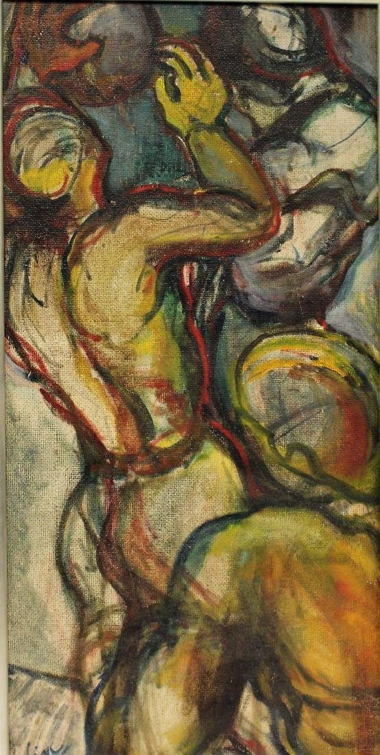 20thC. Modernist Oil - Abstract Figures Signed