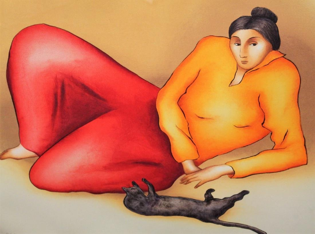 R.C. Gorman; Framed Lithograph - Woman and Cat