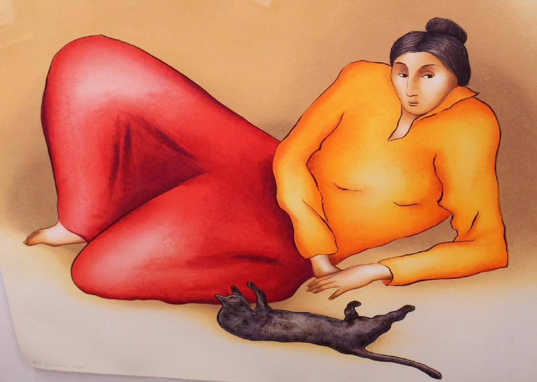 R.C. Gorman; Framed Lithograph - Woman and Cat - 6