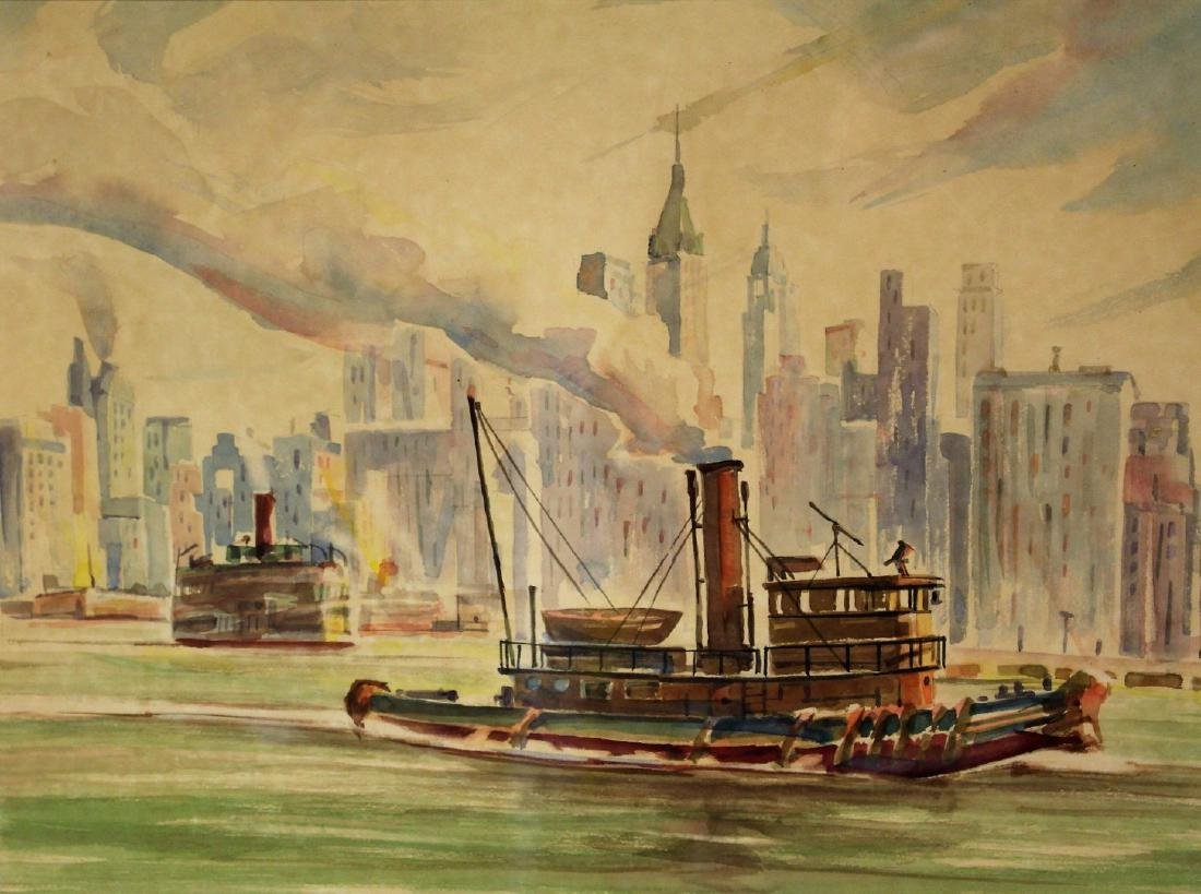 20thC. American Watercolor - Tug in NY Harbor