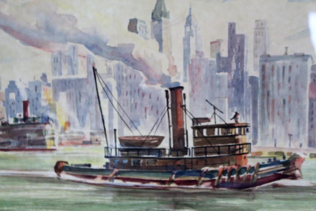 20thC. American Watercolor - Tug in NY Harbor - 2