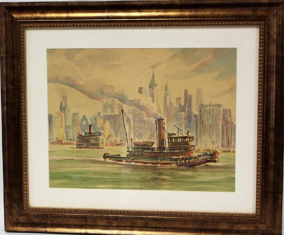 20thC. American Watercolor - Tug in NY Harbor - 3