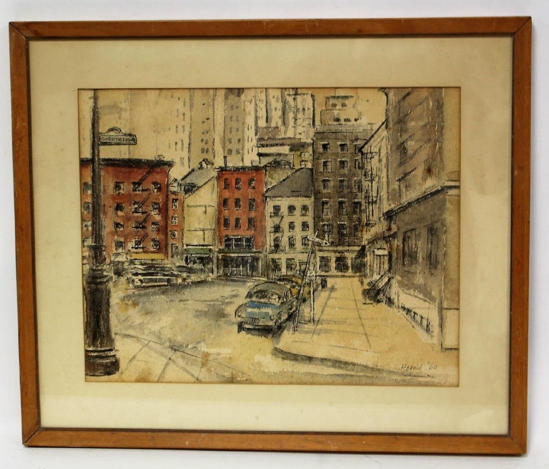 Harold; 20thC. Modernist Watercolor Signed - 3