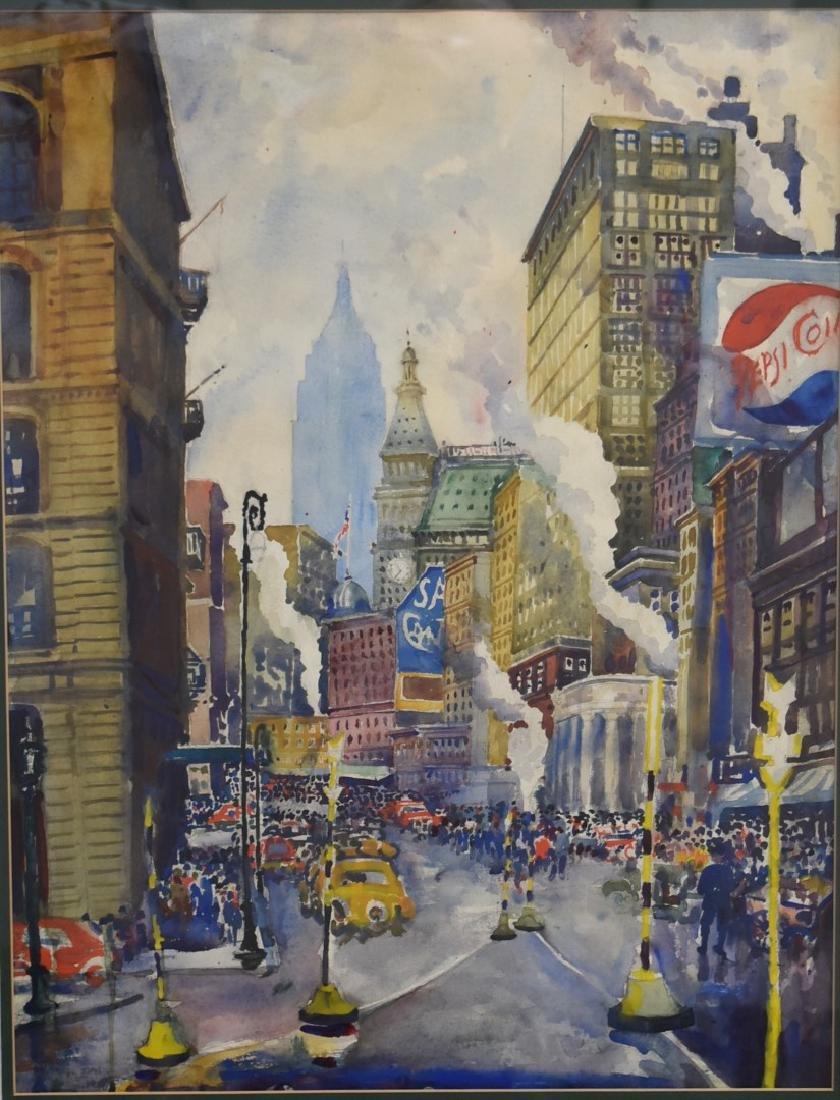 20thC. American School; Watercolor - Midtown Signed