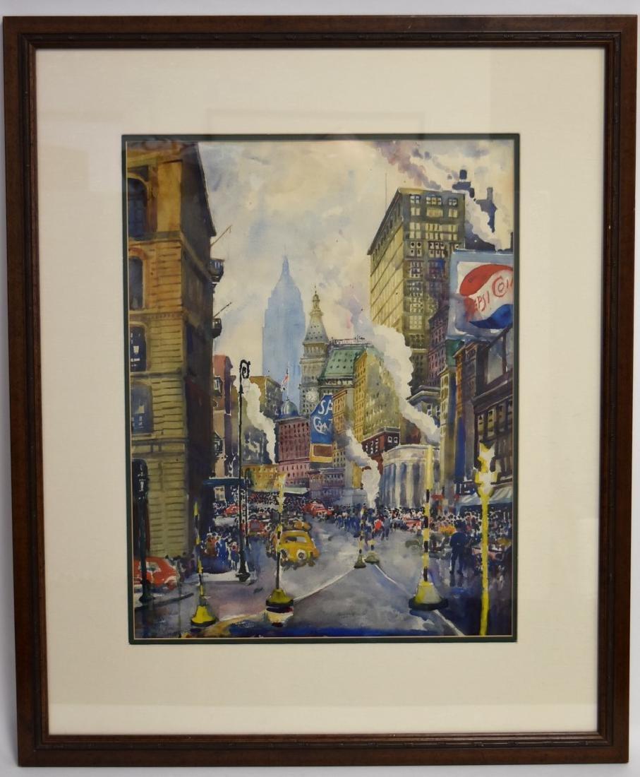 20thC. American School; Watercolor - Midtown Signed - 2