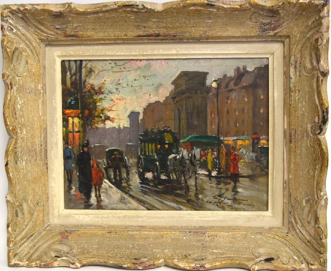 Francois Gerome; French Oil - La Port Saint-Denis - 2