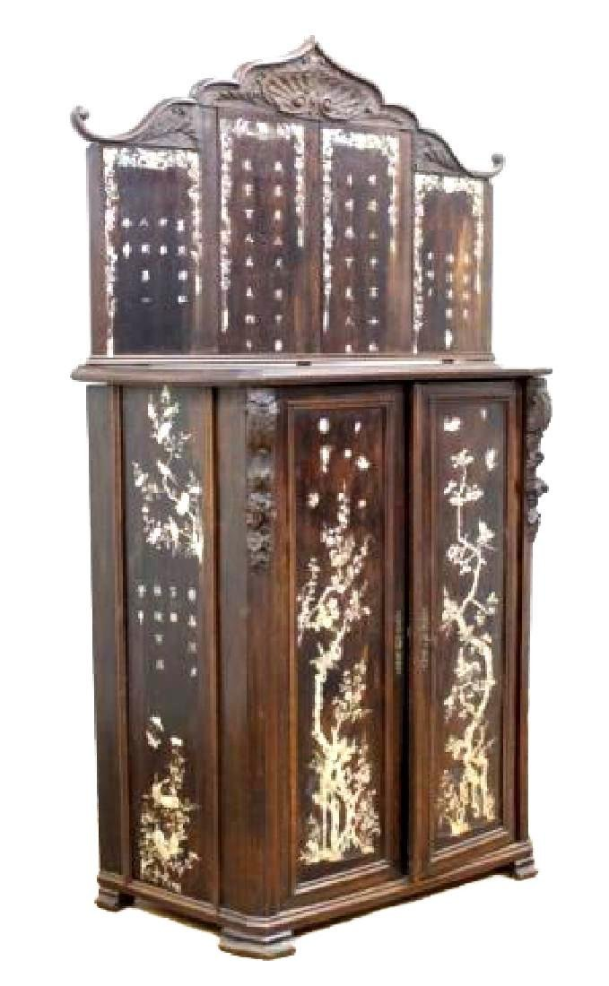 19thC. Chinese Inlaid Wood Altar Cabinet
