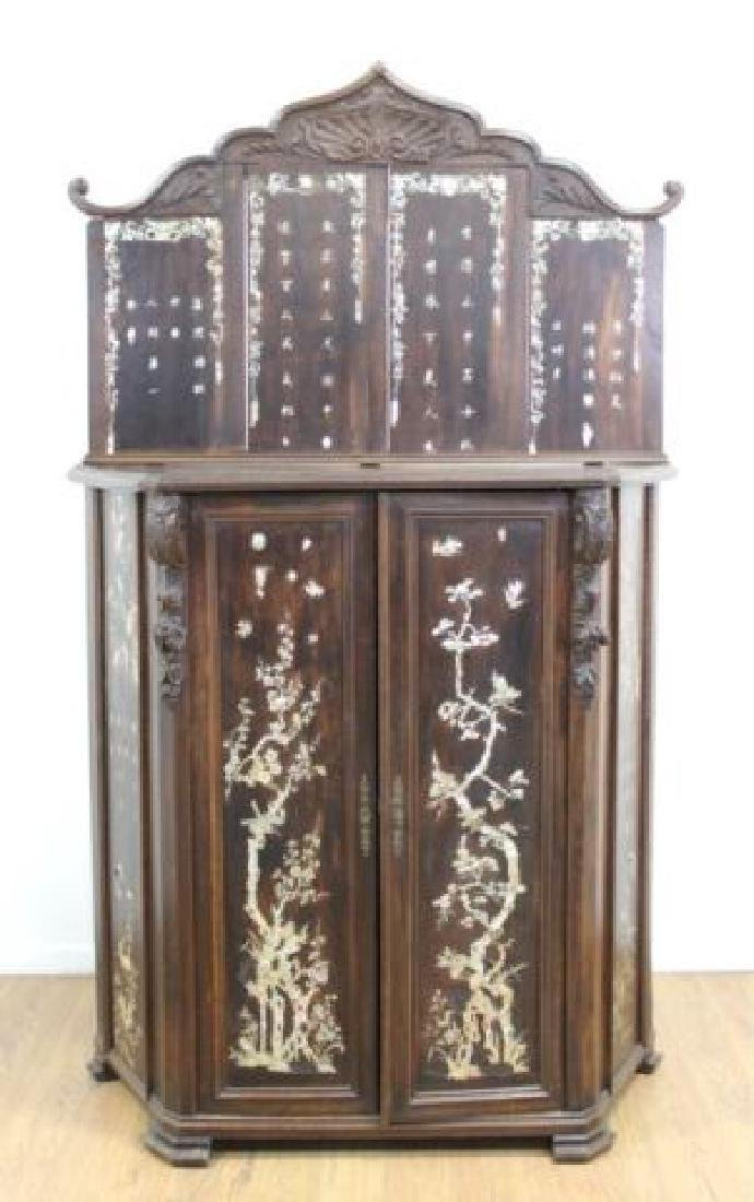 19thC. Chinese Inlaid Wood Altar Cabinet - 2