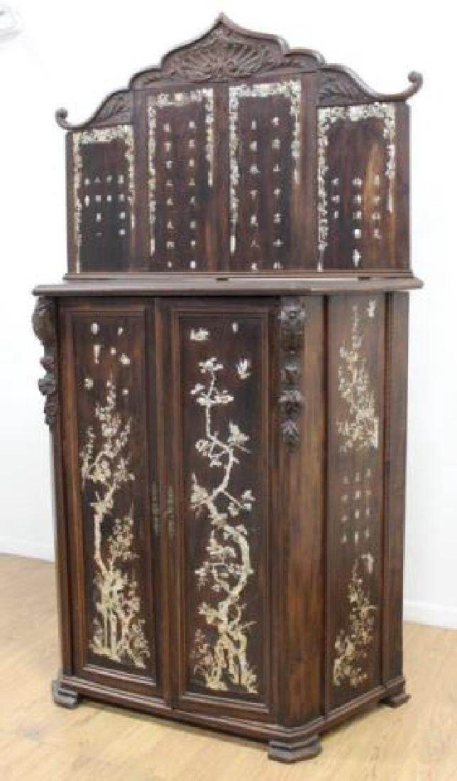 19thC. Chinese Inlaid Wood Altar Cabinet - 3