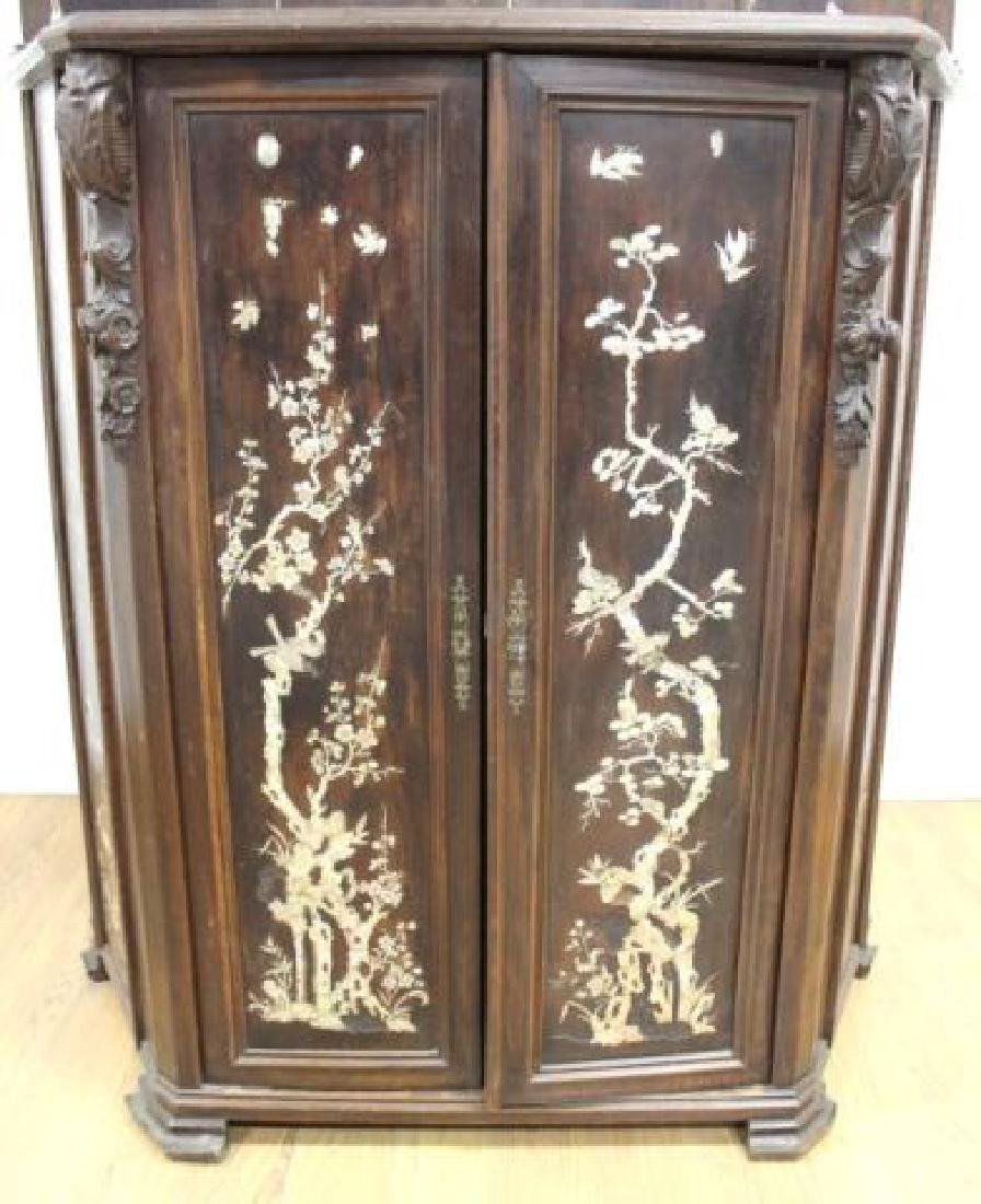 19thC. Chinese Inlaid Wood Altar Cabinet - 4
