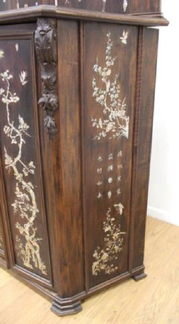 19thC. Chinese Inlaid Wood Altar Cabinet - 7