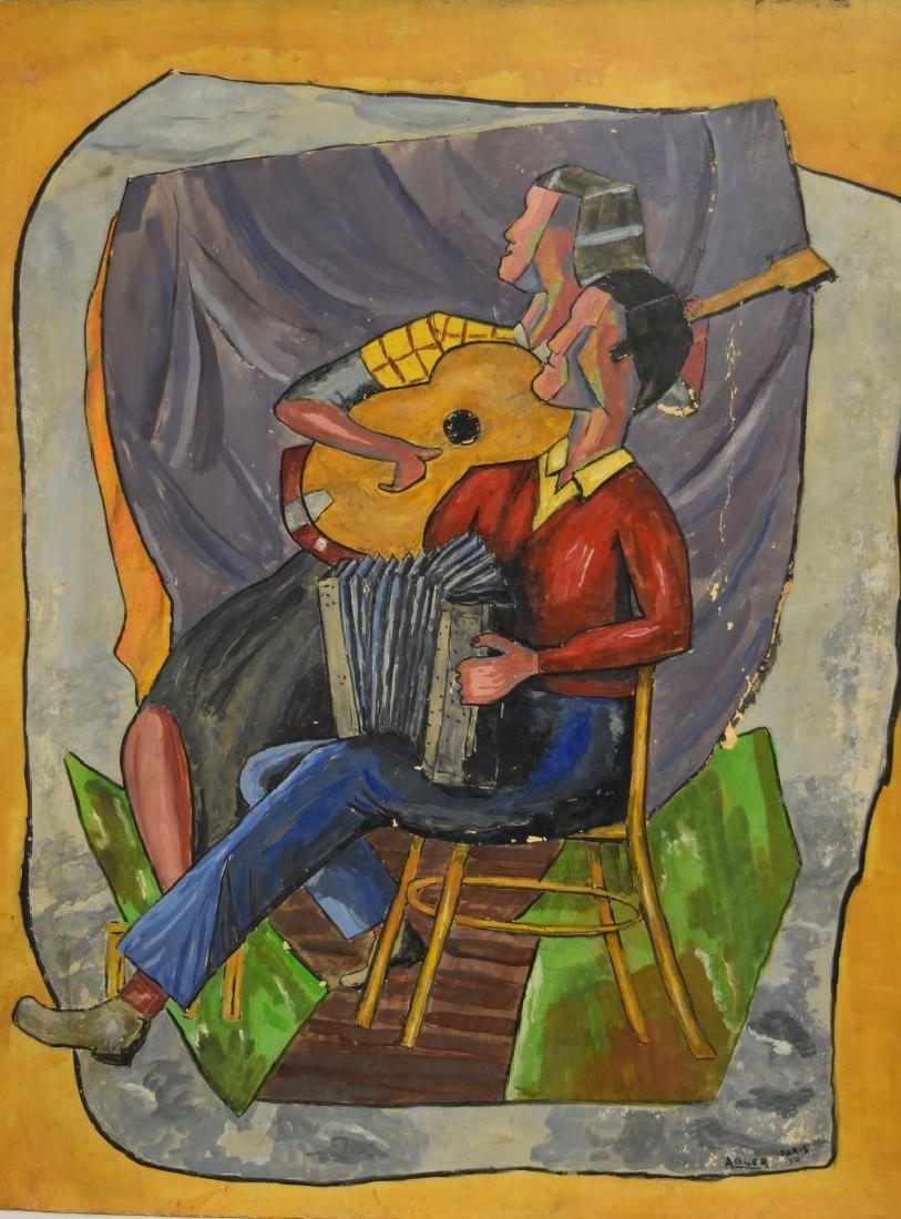 Adler; 20thC. French Gouache - The Musicians Signed