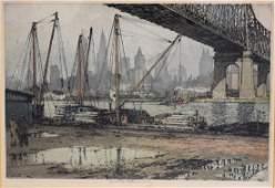 Luigi Kasimir; Etching and Aquatint - Queensboro Bridge