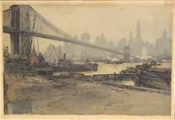 Luigi Kasimir; Etching and Aquatint - Brooklyn Bridge