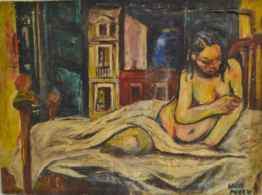 Nico Mendez; 20thC. Oil Reclining Nude Signed