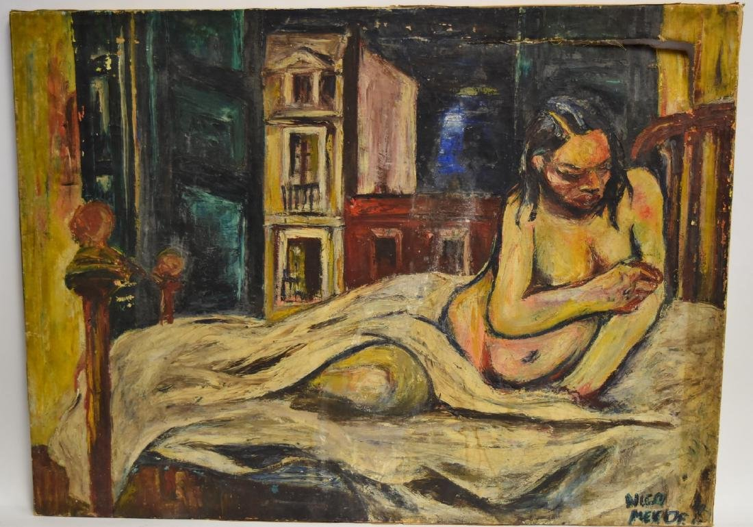 Nico Mendez; 20thC. Oil Reclining Nude Signed - 2