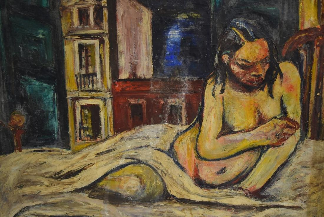 Nico Mendez; 20thC. Oil Reclining Nude Signed - 3