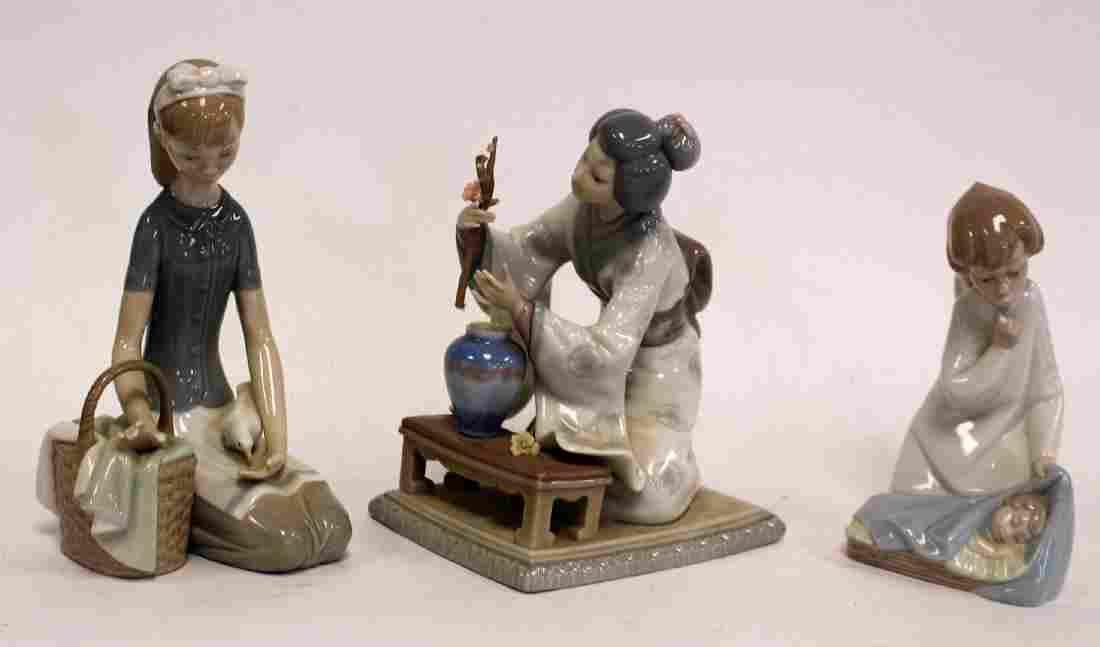 Three(3) Lladro Porcelain Figurines