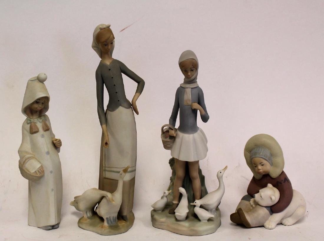 Four(4) Lladro Porcelain Figurines